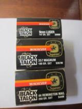 WINCHESTER BLACK TALON9MM LUGER,357 MAG & 44 REM MAG