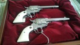 MATCHEDPAIR RUGER NICKLE CONSECUTIVE SERIAL NUMBERED REVOLVERS45 LONG COLT