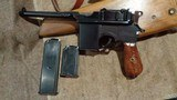 C96 BROOMHANDLE MODEL 1930 DETACHABLE MAGAZINE 9MMW/MATCHING STOCK & LEATHER HARNESSNORINCO ARSENAL SPECIAL-ORDER - 1 of 13