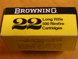 BROWNING .22 CAL. COLLECTIBLE AMMO CARTON FOR 500 CARTRIDGES FOR 10 BOXES OF 50 - COLLECTIBLE - HARD TO FIND OR RARE - 2 of 9