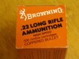 BROWNING .22 CAL. COLLECTIBLE AMMO CARTON FOR 500 CARTRIDGES FOR 10 BOXES OF 50 - COLLECTIBLE - HARD TO FIND OR RARE - 9 of 9