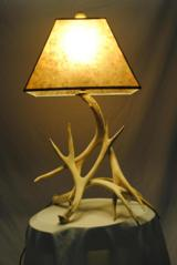 DEER ANTLER LAMP AND MICA SHADE - CUSTOM MADE IN USA