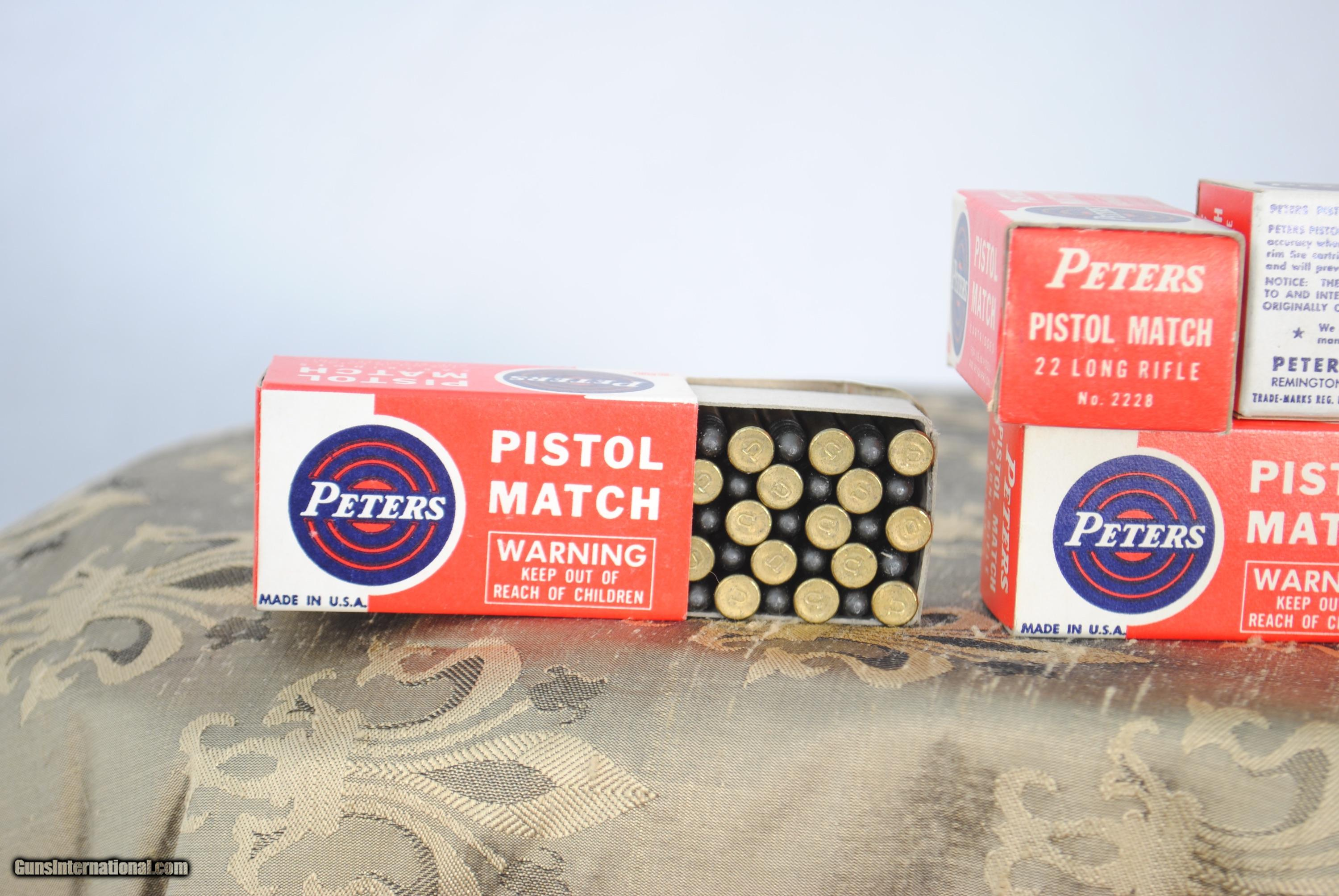VINTAGE PETERS PISTOL MATCH  22 TARGET AMMO - 5 BOXES