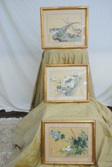 GAME BIRD SERIES OF 3 FRAMED - HAND PAINTED ON SILK