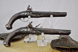 ANTIQUE (17th to 18th CENTURY) MATCHED PAIR OF ITALIAN FLINTLOCK PISTOLS WITH HOLSTERS - HIGH CONDITION