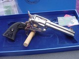 """Colt Single Action Army, 44-40, 4 3/4"""" Nickel, with Box and papers"""