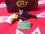 colt single action army sheriff, 45lc factory ivorybp frame,box,papers.