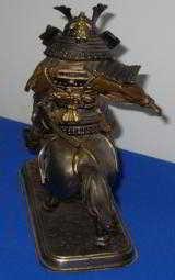 Vintage Bronze Figure of a Samurai Warrior riding his Stallion - 5 of 8