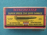 Winchester 250-3000 Savage Red/Yellow/Blue Box, Olin Call-out, Mid-1940s
