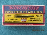Winchester Super Speed 219 Zipper Red/Yellow/Blue Box, 1939-1945 era, Full