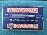 Winchester .30 Army Non-Mercuric Staynless Ammo Late 1920s