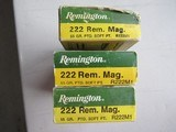 NEW OLD STOCK Remington 222 Rem Mag Ammo, 3 Full Boxes, FREE SHIPPING