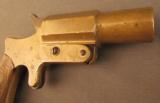 Unusual French Brass Saw Handle Flare Pistol - 3 of 11