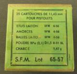 French 11.43 MM (45 ACP) Pistol Ammo Dated 4-56 - 1 of 3