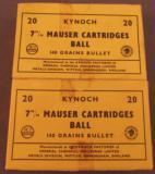 Kynoch 7 MM Mauser Ammo 40 Rnds