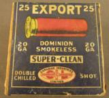 Dominion Shotshell Box CIL Export 20 GA