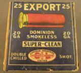 Dominion Shotshell Box CIL Export 20 GA