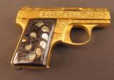 Exquisite John Adams Engraved, Gold-Finished Browning .25 Pistol