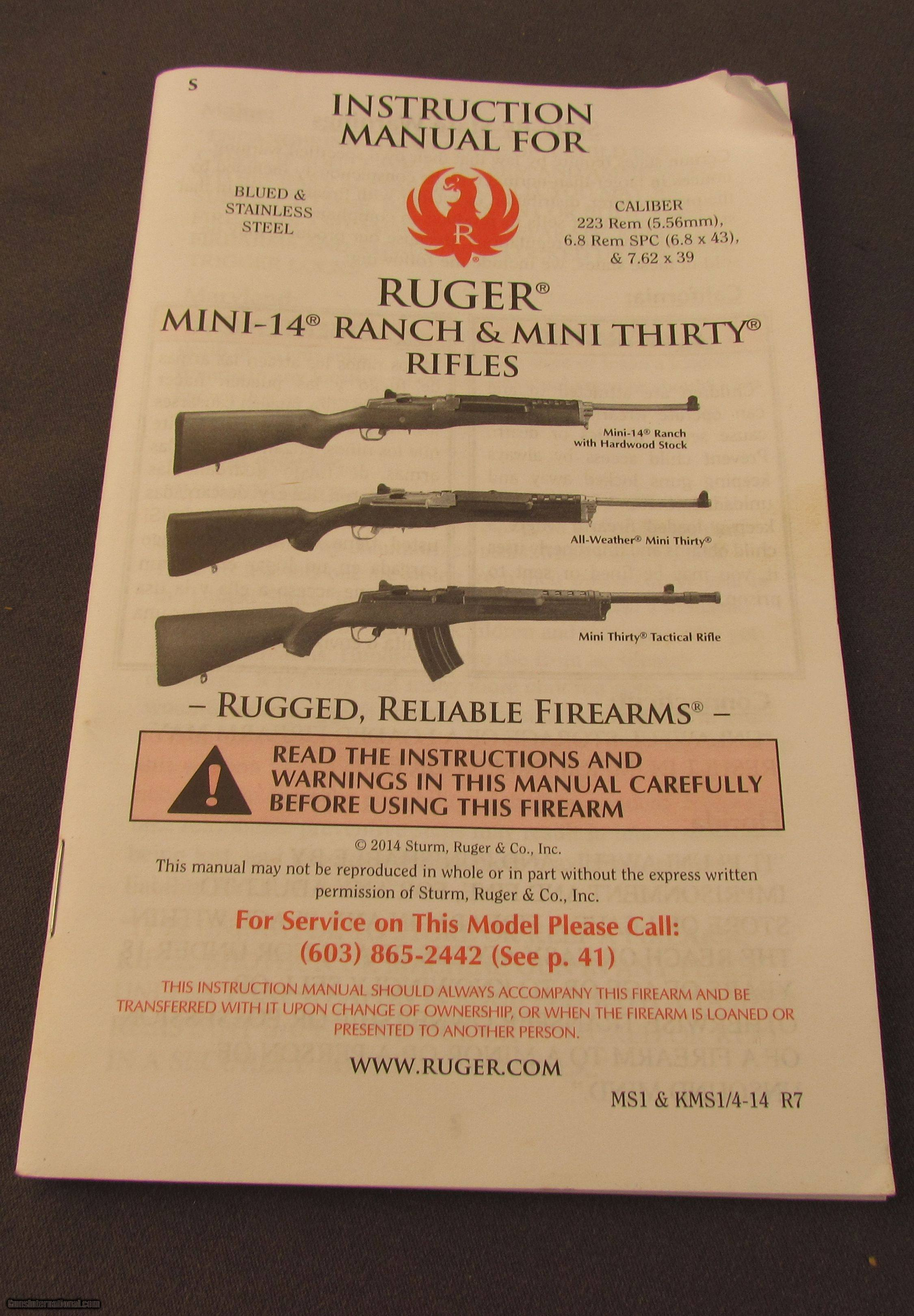 ruger mini 30 tactical ranch rifle with extras 300 blackout rh gunsinternational com mini mac 30 chainsaw manual ruger mini 30 owner's manual