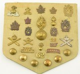 Vintage Canadian Military Badges & Buttons inc/ Machine Gun Corps