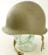 WW2 US Helmet Fixed Bale Front Seam Shrapnel Hole - 1 of 10