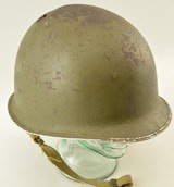 WW2 US Helmet Fixed Bale Front Seam Shrapnel Hole - 2 of 10