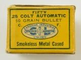 C-I-L Dominion 25 Colt Automatic Ammunition Mint Full Box 1949 - 2 of 5