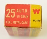 Winchester 25 Automatic Ammunition Full Box 1950's - 5 of 6