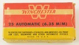 Winchester 25 Automatic Ammunition Full Box 1950's - 1 of 6