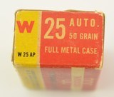 Winchester 25 Automatic Ammunition Full Box 1950's - 3 of 6