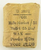 Civil War Confederate 1862 Ammo Packet Musket Cartridges - 1 of 5