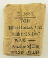 Civil War Confederate 1862 Ammo Packet Musket Cartridges - 2 of 5