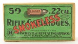 Second Issue Winchester 22 Short Smokeless Sealed Box Ammo S-1b