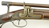 British Percussion Scoped Sporting Rifle Cased w/ Gold Inlay - 7 of 15