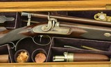 British Percussion Scoped Sporting Rifle Cased w/ Gold Inlay - 1 of 15
