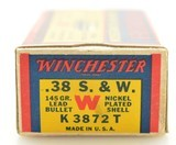 """Excellent Winchester 38 S&W """"1939"""" Box Ammo Full 145 Gr Nickel Plated - 4 of 7"""