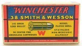 """Excellent Winchester 38 S&W """"1939"""" Box Ammo Full 145 Gr Nickel Plated - 6 of 7"""