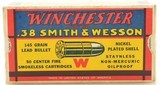 """Excellent Winchester 38 S&W """"1939"""" Box Ammo Full 145 Gr Nickel Plated - 1 of 7"""