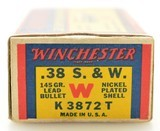 """Excellent Winchester 38 S&W """"1939"""" Box Ammo Full 145 Gr Nickel Plated - 2 of 7"""