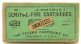 Rare Transition Sealed BP Box Peters 41 Short Colt W/ Smokeless Label - 1 of 6