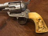 Beautiful New York Engraved Colt Single Action Army .44 Etched Carved Snake & Eagle Ivory - 2 of 15