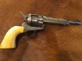 Beautiful New York Engraved Colt Single Action Army .44 Etched Carved Snake & Eagle Ivory - 5 of 15