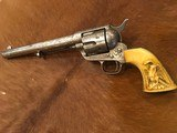 Beautiful New York Engraved Colt Single Action Army .44 Etched Carved Snake & Eagle Ivory