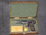 Vintage Fitted Wood Cased Savage pistol, Cal. 32, 7.65mm, 3 3/4, with one box of vintage ammo - 1 of 11