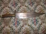 1830'S TEXAS CLIP POINT BOWIE KNIFE BRASS SPINE.
