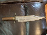 1830'S TEXAS CLIP POINT BOWIE KNIFE BRASS SPINE. - 5 of 8