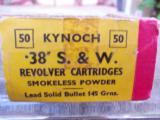 Kynoch 38 S&W 145 grains 50 round box, box excellent and ammo excellent - 3 of 3