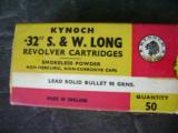 Kynoch 32 S&W Long Revolver Cartridges 50 round 96 grain bullets - 1 of 2
