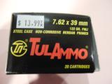 TULAMMO7.62X39122GR.F.M.J.20ROUNDBOXES - 1 of 1