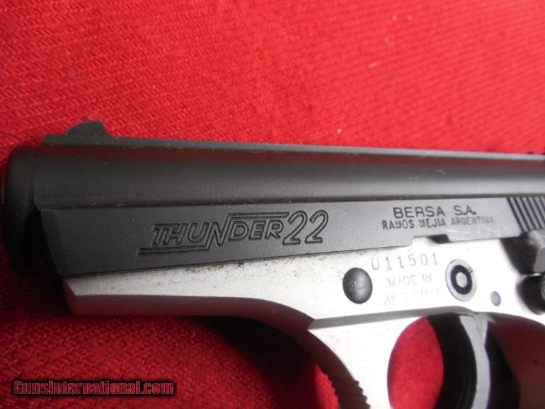 BERSA THUNDER 22 L R  10 + 1 RD  MAG Semi-Automatic Pistol,